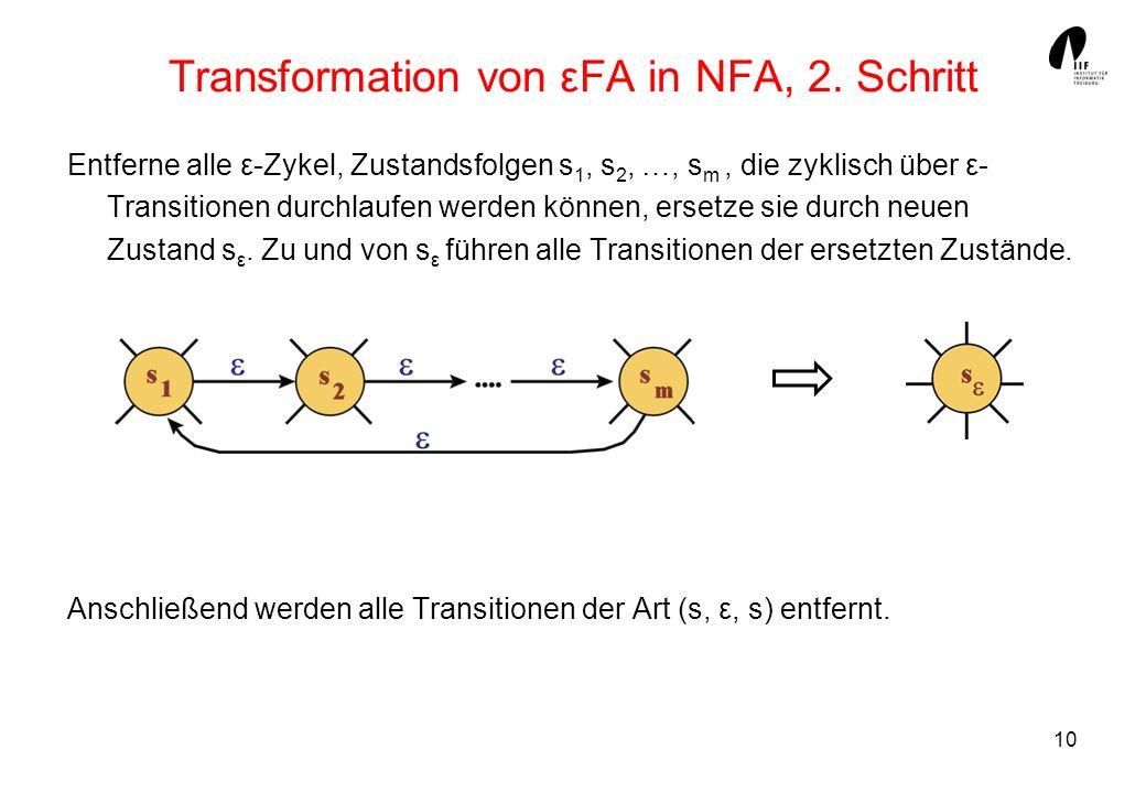 Transformation von εFA in NFA, 2. Schritt