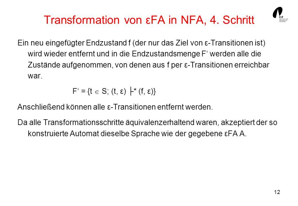 Transformation von εFA in NFA, 4. Schritt