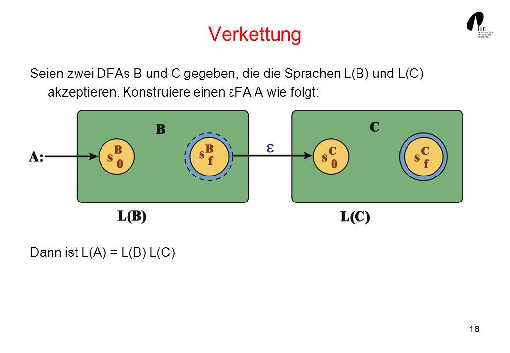 Verkettung Seien zwei DFAs B und C gegeben, die die Sprachen L(B) und L(C) akzeptieren. Konstruiere einen εFA A wie folgt: