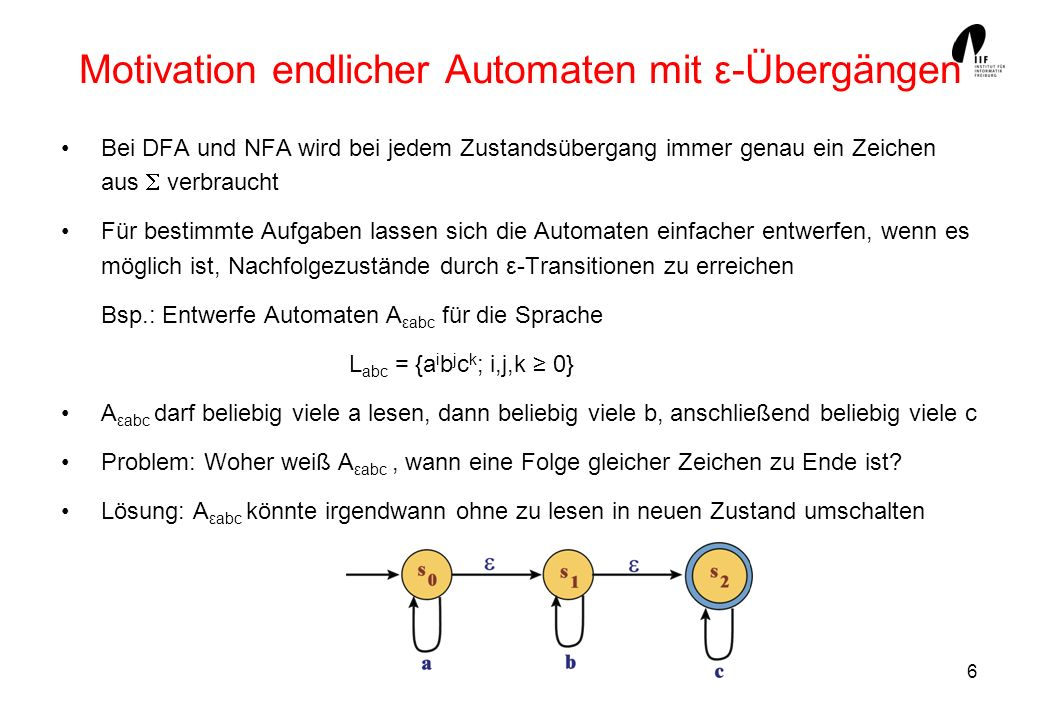 Motivation endlicher Automaten mit ε-Übergängen