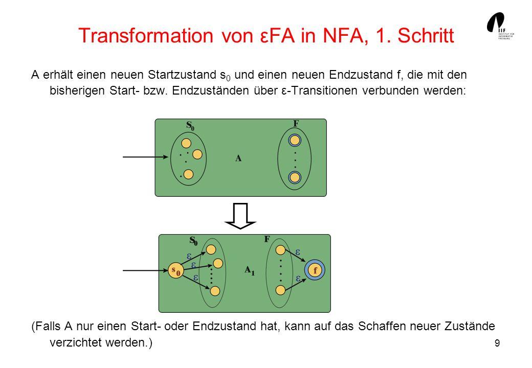 Transformation von εFA in NFA, 1. Schritt