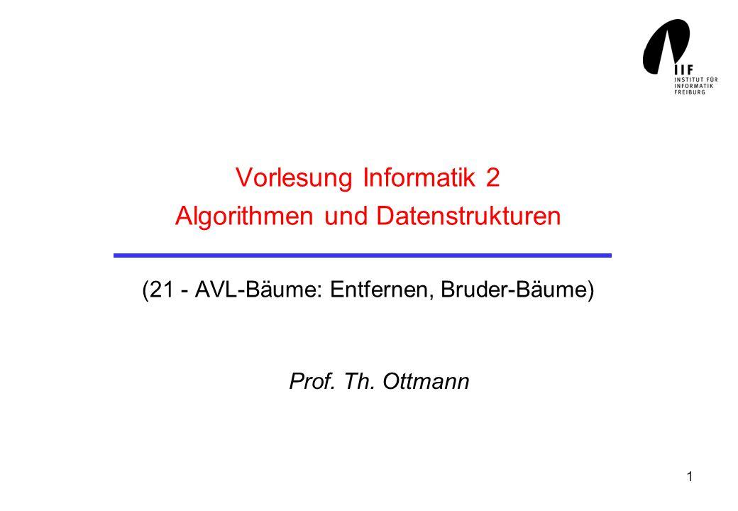 Vorlesung Informatik 2 Algorithmen und Datenstrukturen (21 - AVL-Bäume: Entfernen, Bruder-Bäume)