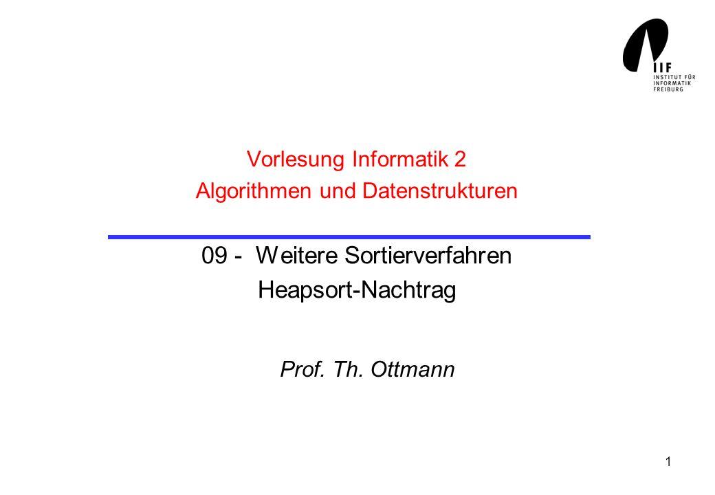 Vorlesung Informatik 2 Algorithmen und Datenstrukturen 09 - Weitere Sortierverfahren Heapsort-Nachtrag
