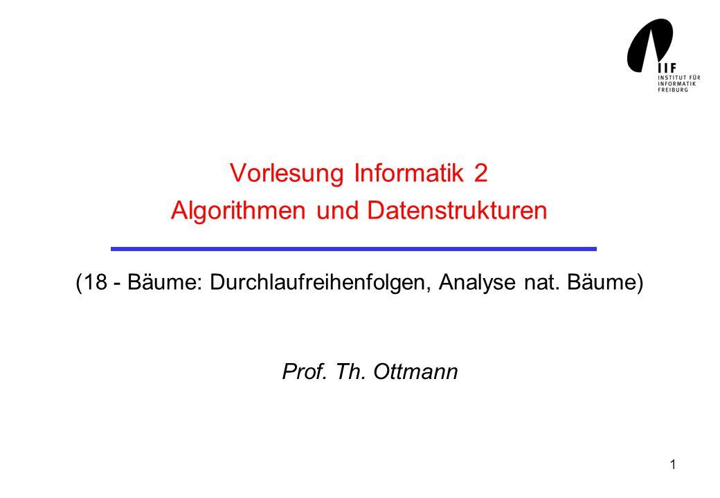 Vorlesung Informatik 2 Algorithmen und Datenstrukturen (18 - Bäume: Durchlaufreihenfolgen, Analyse nat. Bäume)