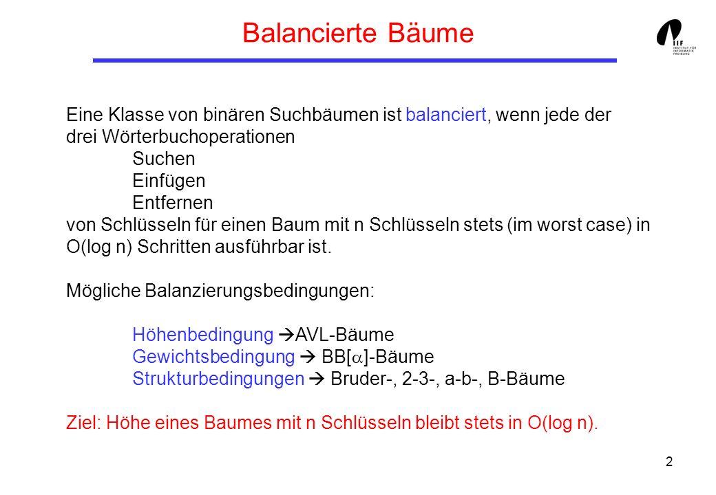 Balancierte Bäume Eine Klasse von binären Suchbäumen ist balanciert, wenn jede der. drei Wörterbuchoperationen.