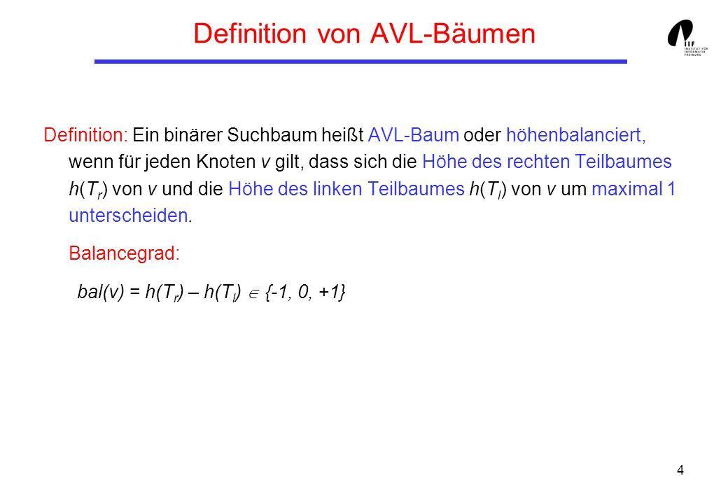 Definition von AVL-Bäumen