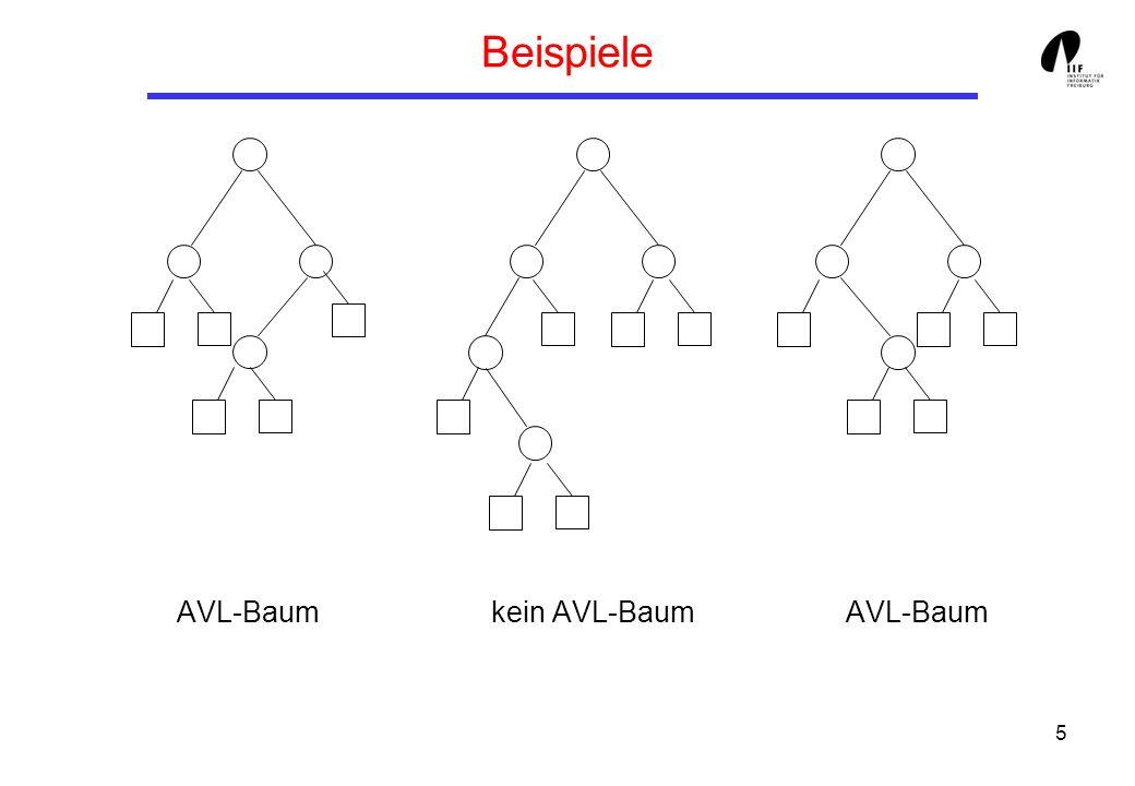 Beispiele AVL-Baum kein AVL-Baum AVL-Baum