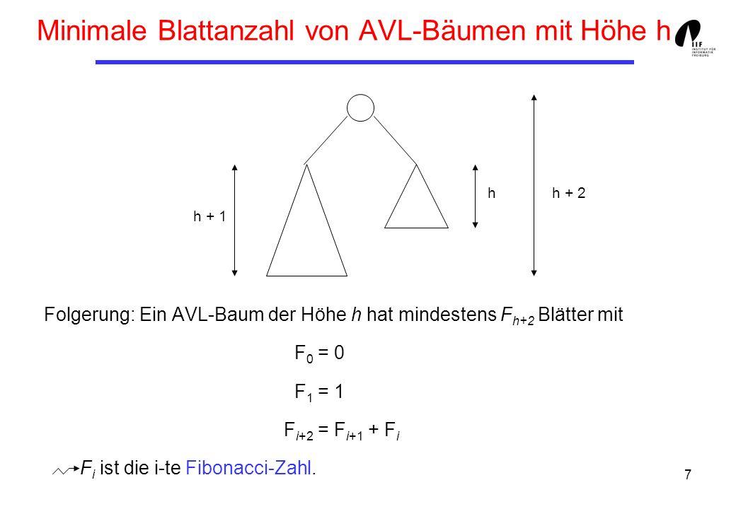 Minimale Blattanzahl von AVL-Bäumen mit Höhe h