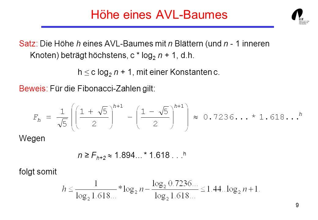 Höhe eines AVL-Baumes Satz: Die Höhe h eines AVL-Baumes mit n Blättern (und n - 1 inneren Knoten) beträgt höchstens, c * log2 n + 1, d.h.