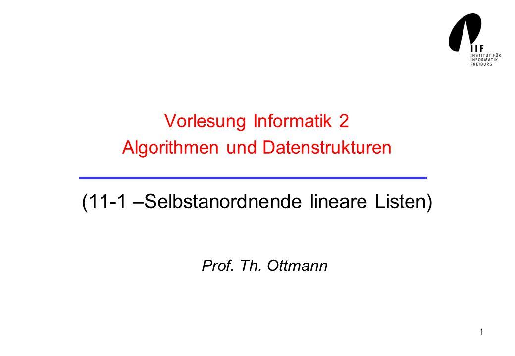 Vorlesung Informatik 2 Algorithmen und Datenstrukturen (11-1 –Selbstanordnende lineare Listen)