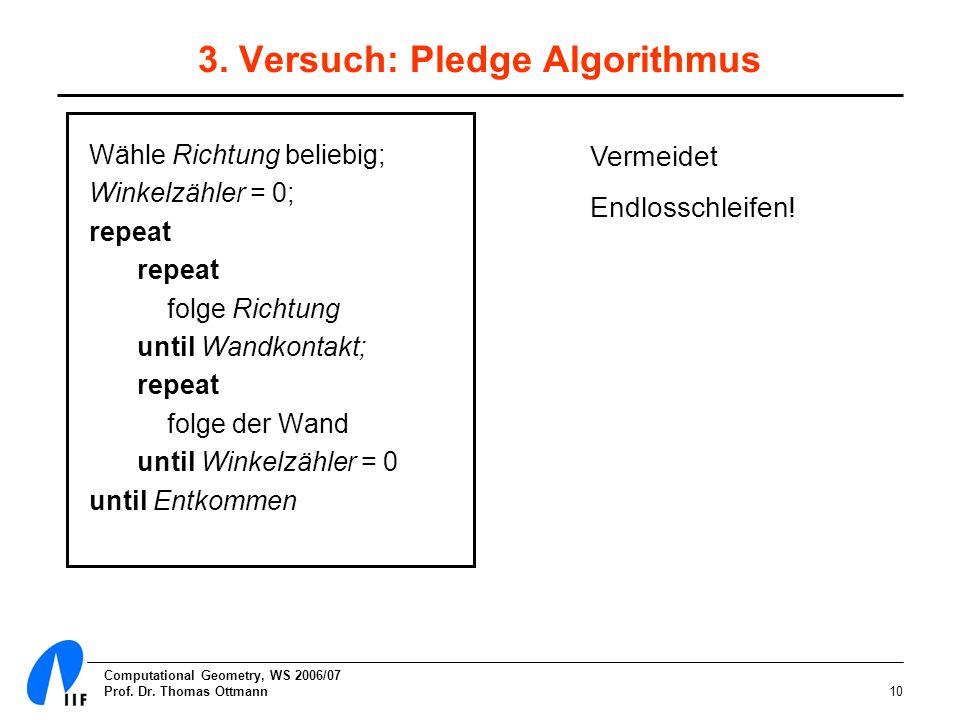 3. Versuch: Pledge Algorithmus