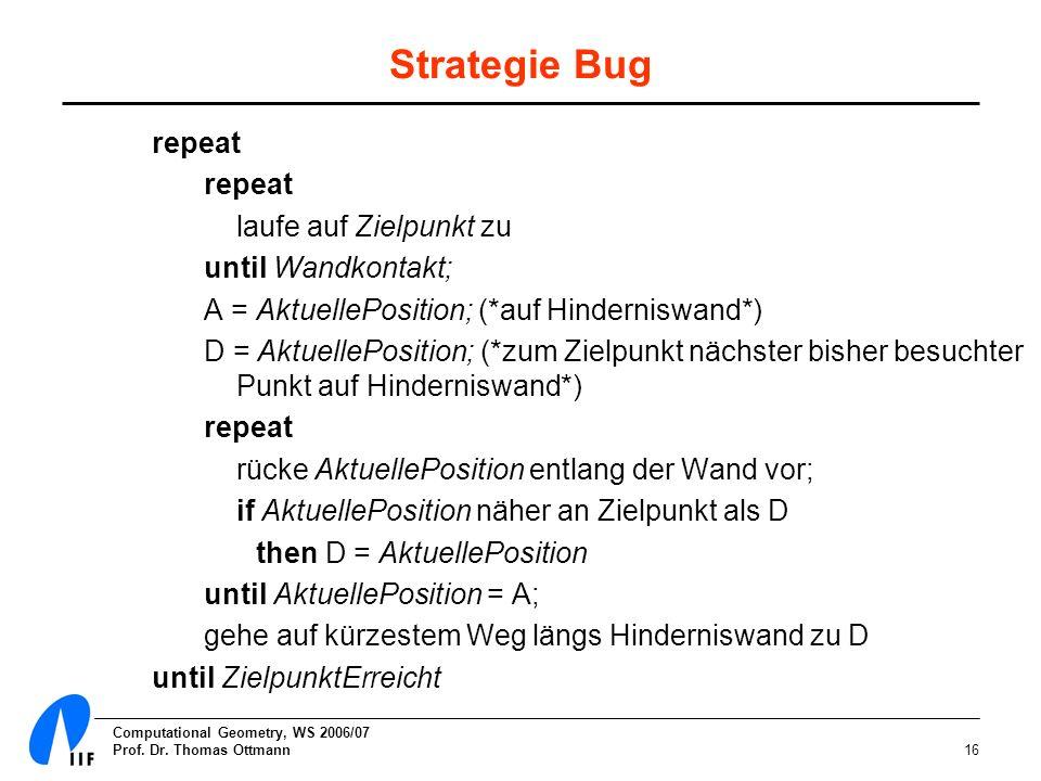 Strategie Bug repeat laufe auf Zielpunkt zu until Wandkontakt;