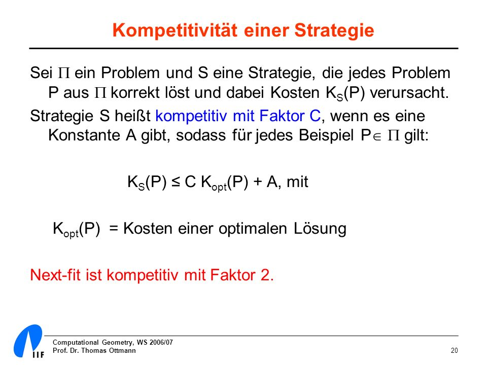 Kompetitivität einer Strategie