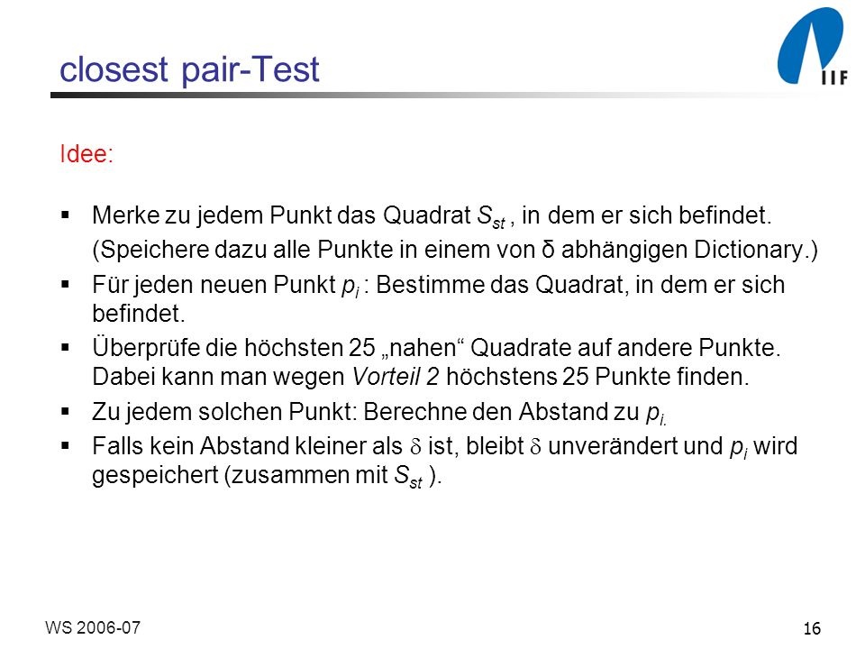 closest pair-Test Idee: