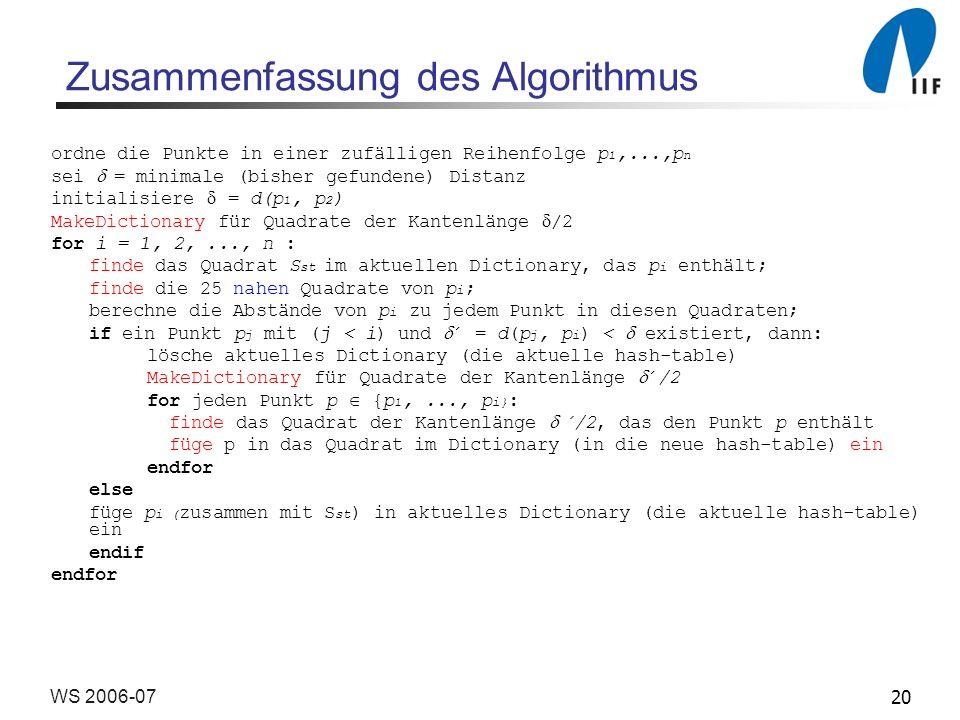 Zusammenfassung des Algorithmus