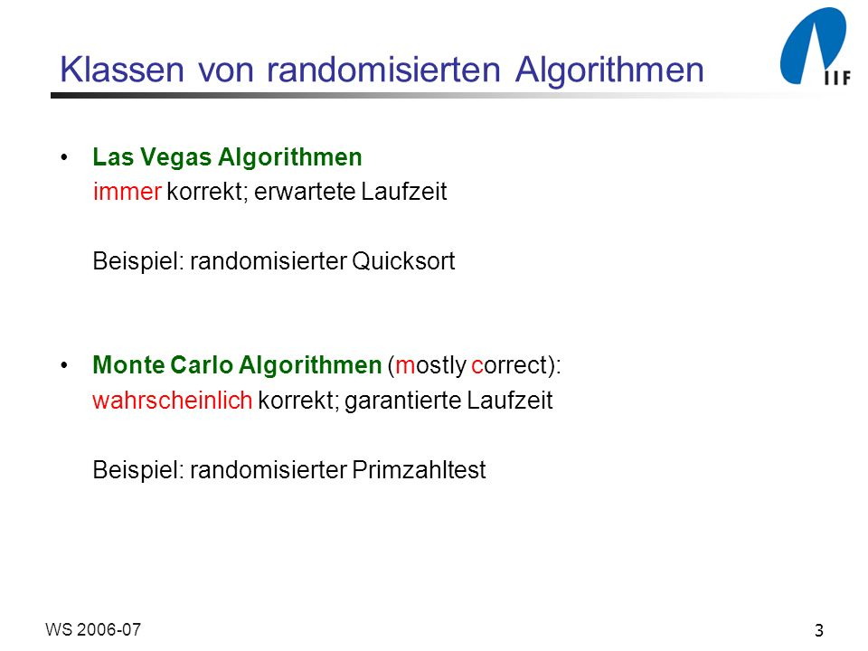 Klassen von randomisierten Algorithmen
