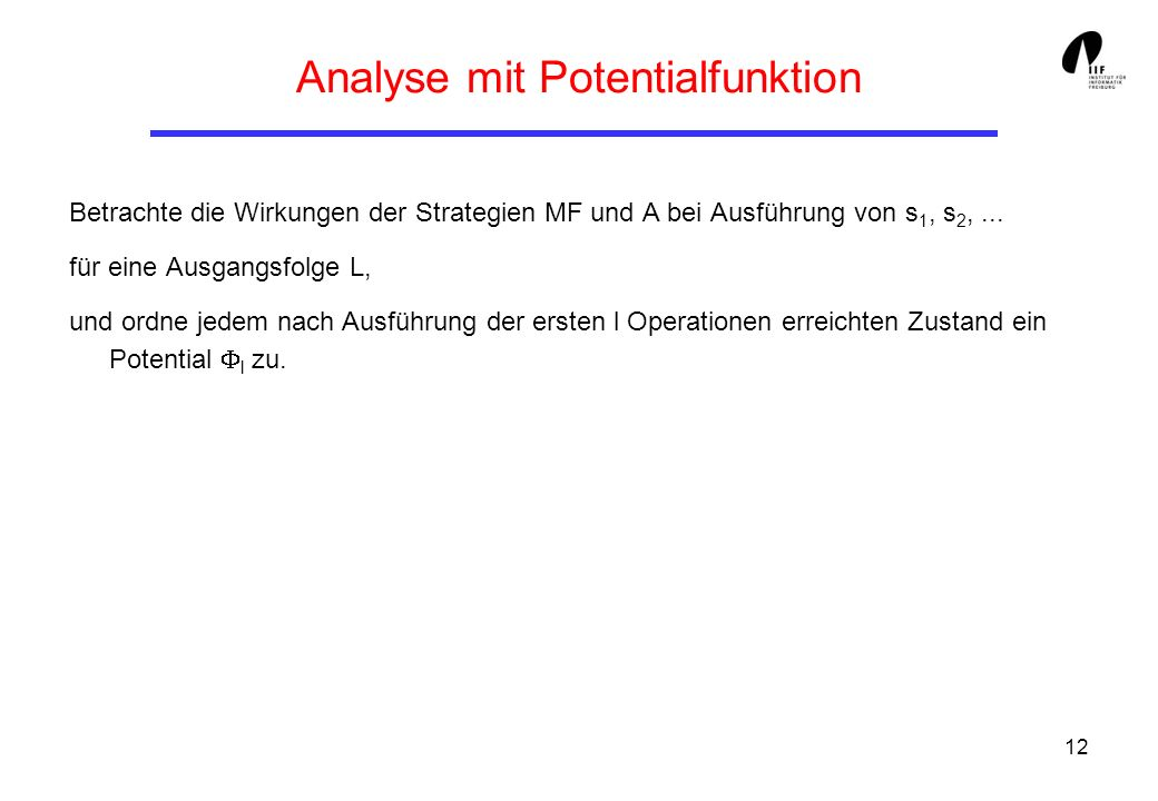 Analyse mit Potentialfunktion