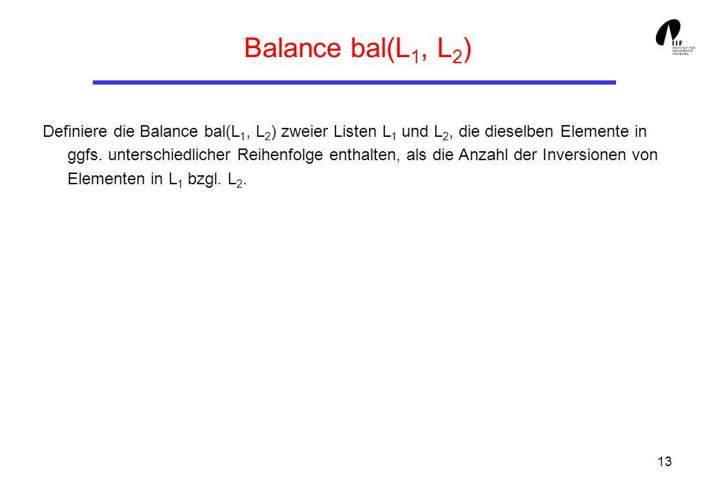 Balance bal(L1, L2)