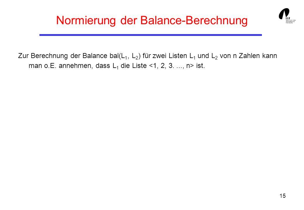 Normierung der Balance-Berechnung