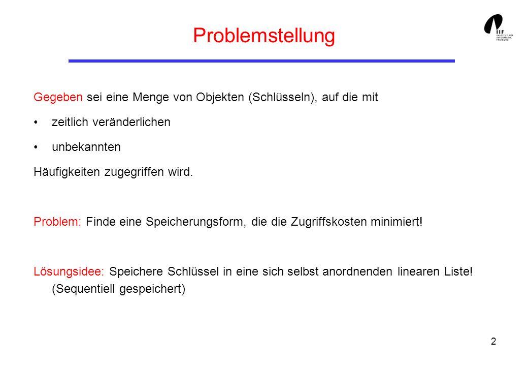 Problemstellung Gegeben sei eine Menge von Objekten (Schlüsseln), auf die mit. zeitlich veränderlichen.
