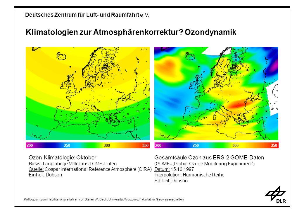 Klimatologien zur Atmosphärenkorrektur Ozondynamik