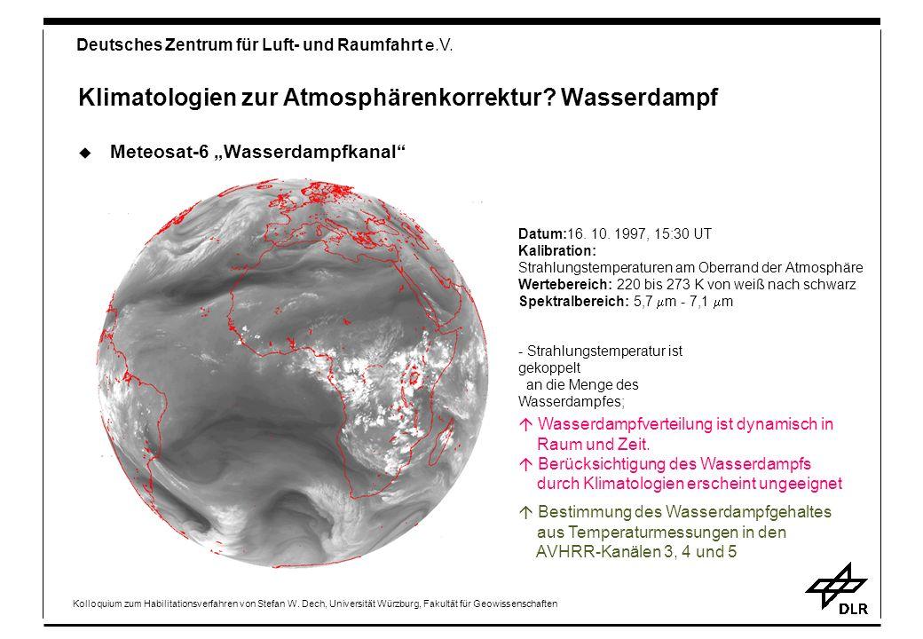 Klimatologien zur Atmosphärenkorrektur Wasserdampf