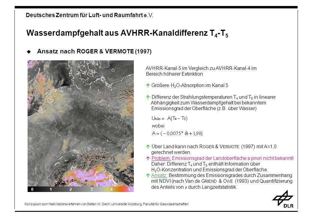 Wasserdampfgehalt aus AVHRR-Kanaldifferenz T4-T5