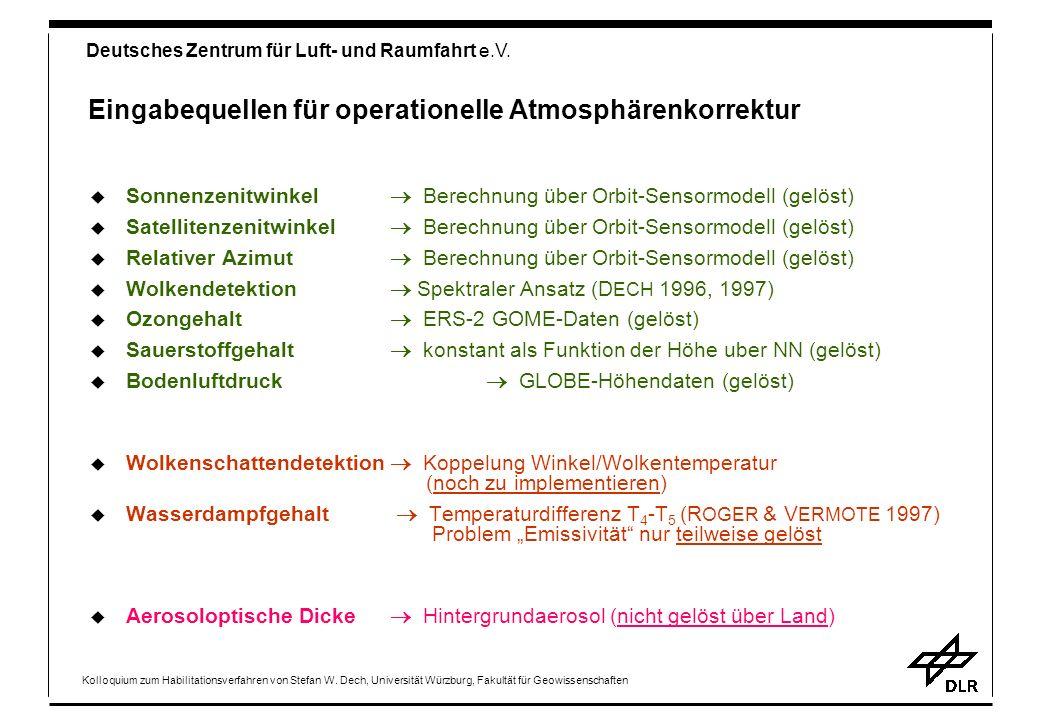 Eingabequellen für operationelle Atmosphärenkorrektur