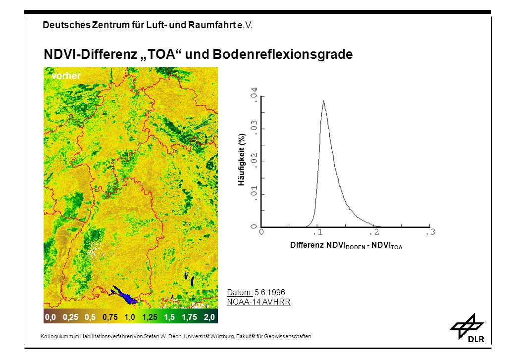 "NDVI-Differenz ""TOA und Bodenreflexionsgrade"