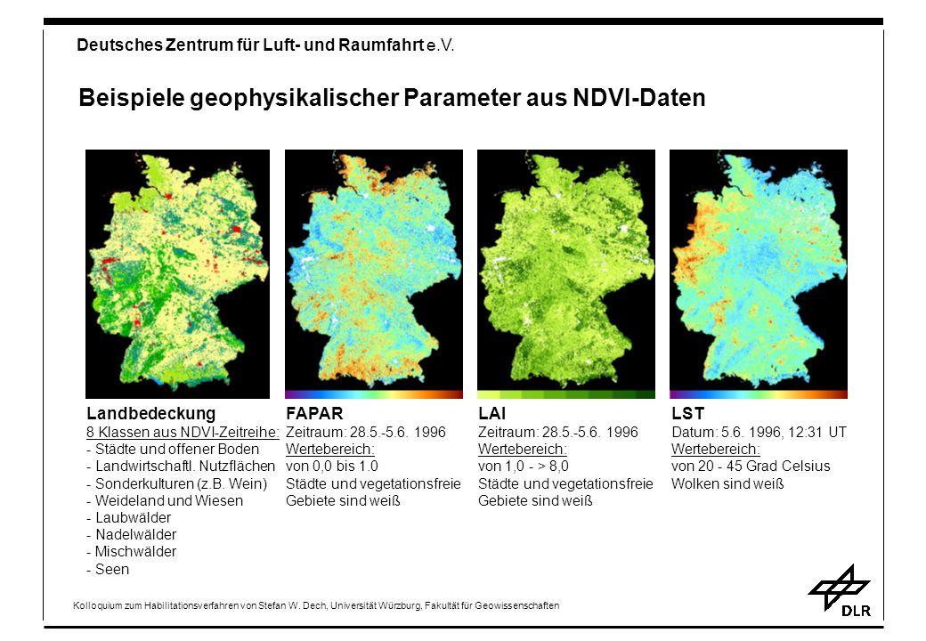 Beispiele geophysikalischer Parameter aus NDVI-Daten