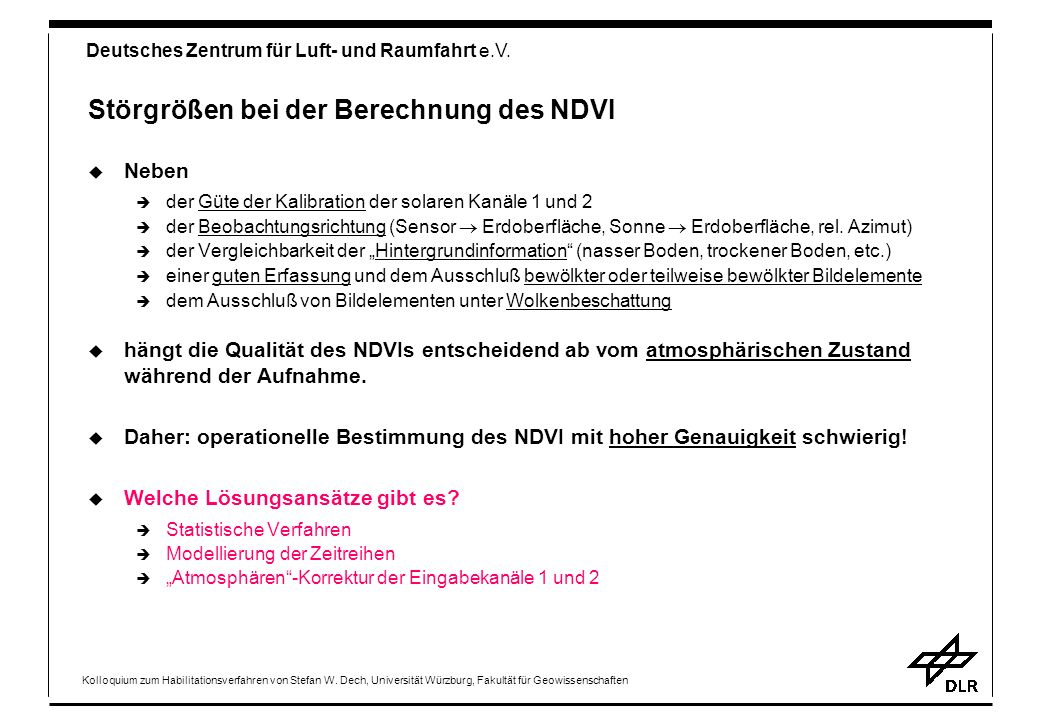 Störgrößen bei der Berechnung des NDVI