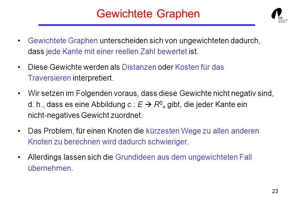 Gewichtete Graphen Gewichtete Graphen unterscheiden sich von ungewichteten dadurch, dass jede Kante mit einer reellen Zahl bewertet ist.