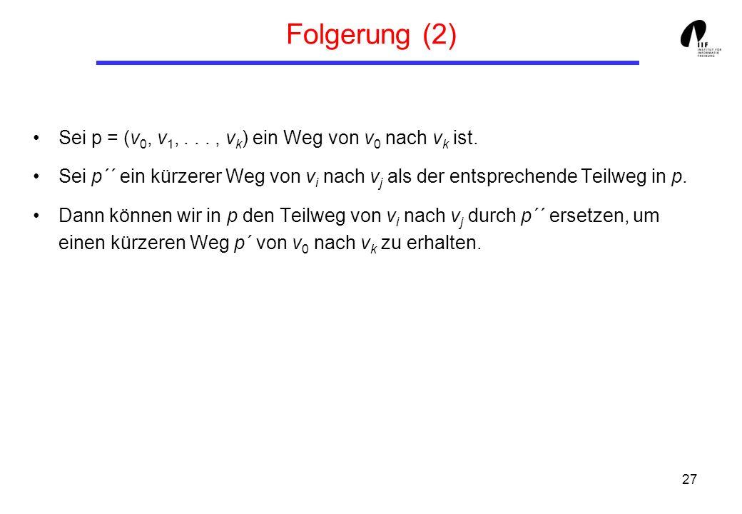 Folgerung (2) Sei p = (v0, v1, . . . , vk) ein Weg von v0 nach vk ist.