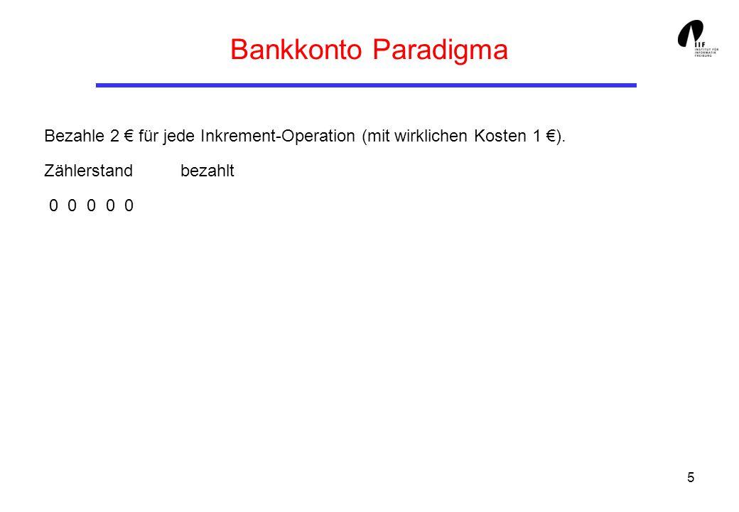Bankkonto Paradigma Bezahle 2 € für jede Inkrement-Operation (mit wirklichen Kosten 1 €). Zählerstand bezahlt.