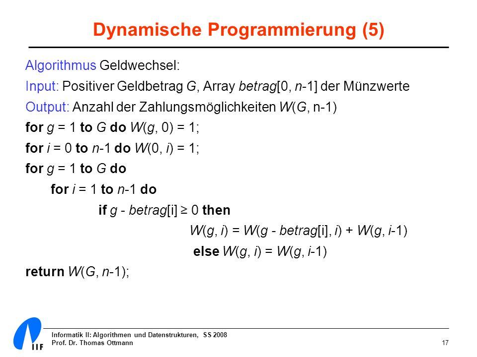 Dynamische Programmierung (5)