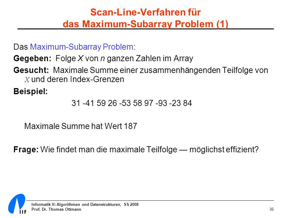 Scan-Line-Verfahren für das Maximum-Subarray Problem (1)