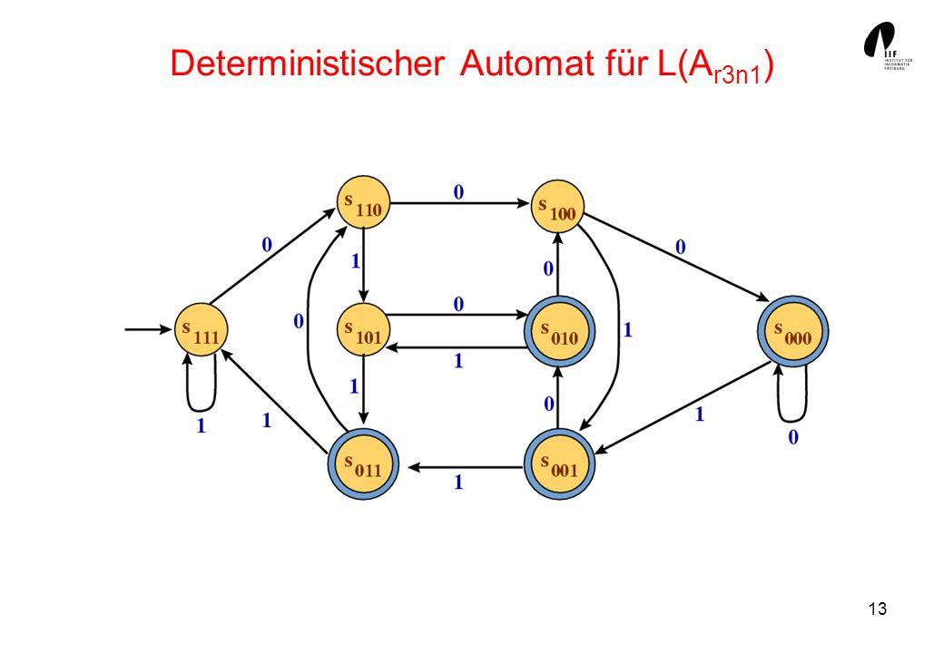 Deterministischer Automat für L(Ar3n1)