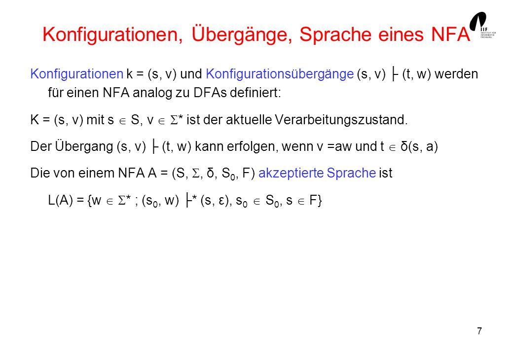 Konfigurationen, Übergänge, Sprache eines NFA