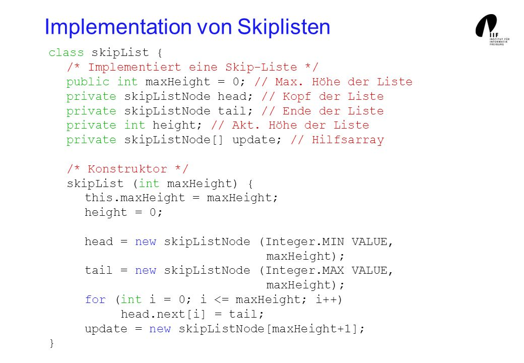 Implementation von Skiplisten