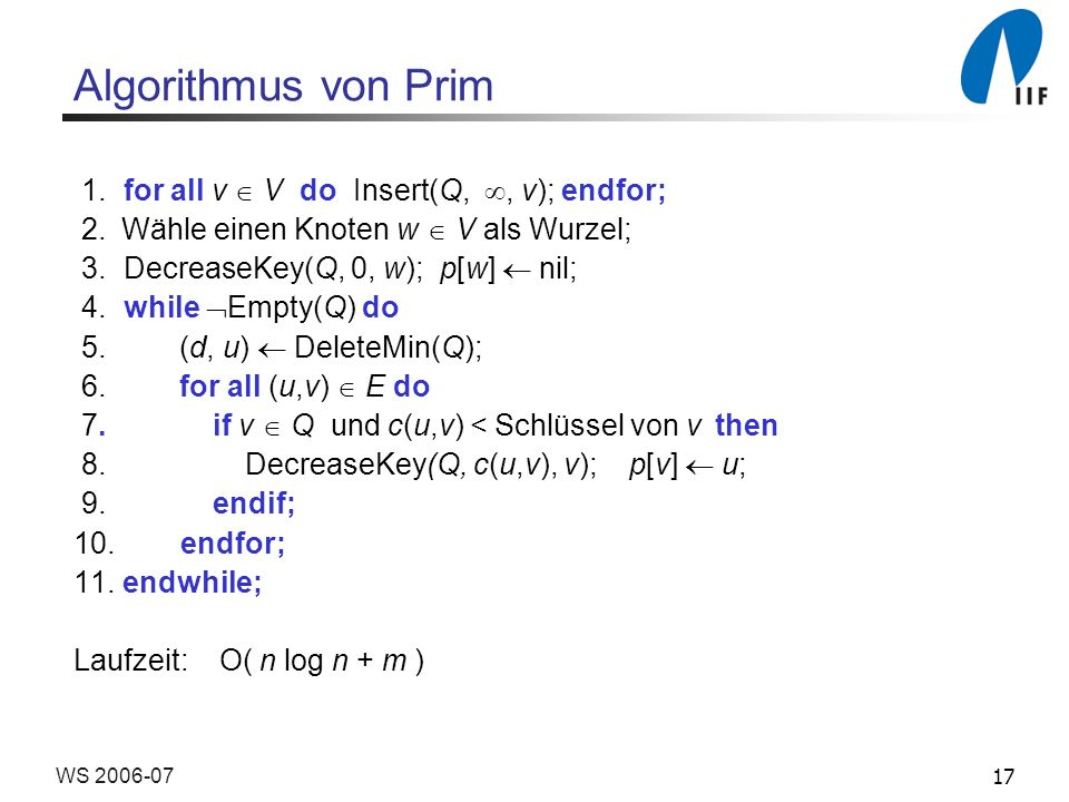 Algorithmus von Prim 1. for all v  V do Insert(Q, , v); endfor;