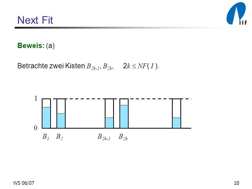 Next Fit Beweis: (a) Betrachte zwei Kisten B2k-1, B2k, 2k  NF( I ). 1