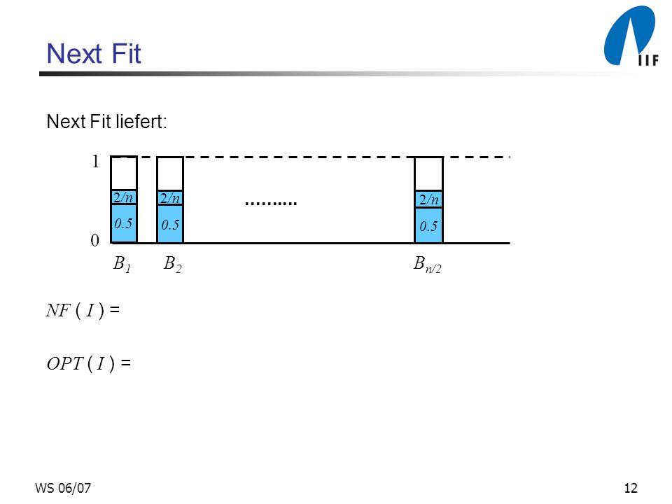 Next Fit Next Fit liefert: 1 .......... NF ( I ) = OPT ( I ) =