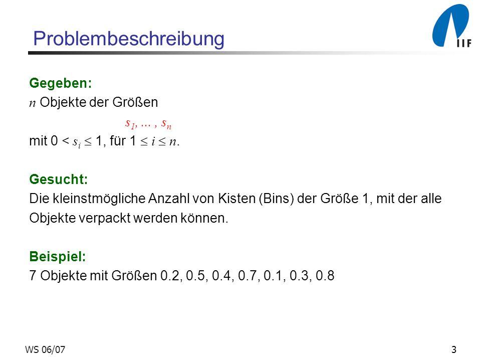 Problembeschreibung Gegeben: n Objekte der Größen s1, ... , sn