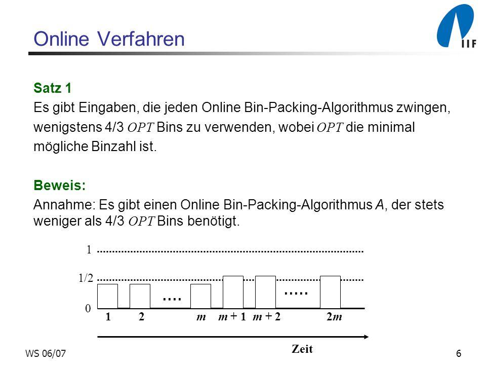 Online Verfahren Satz 1. Es gibt Eingaben, die jeden Online Bin-Packing-Algorithmus zwingen,