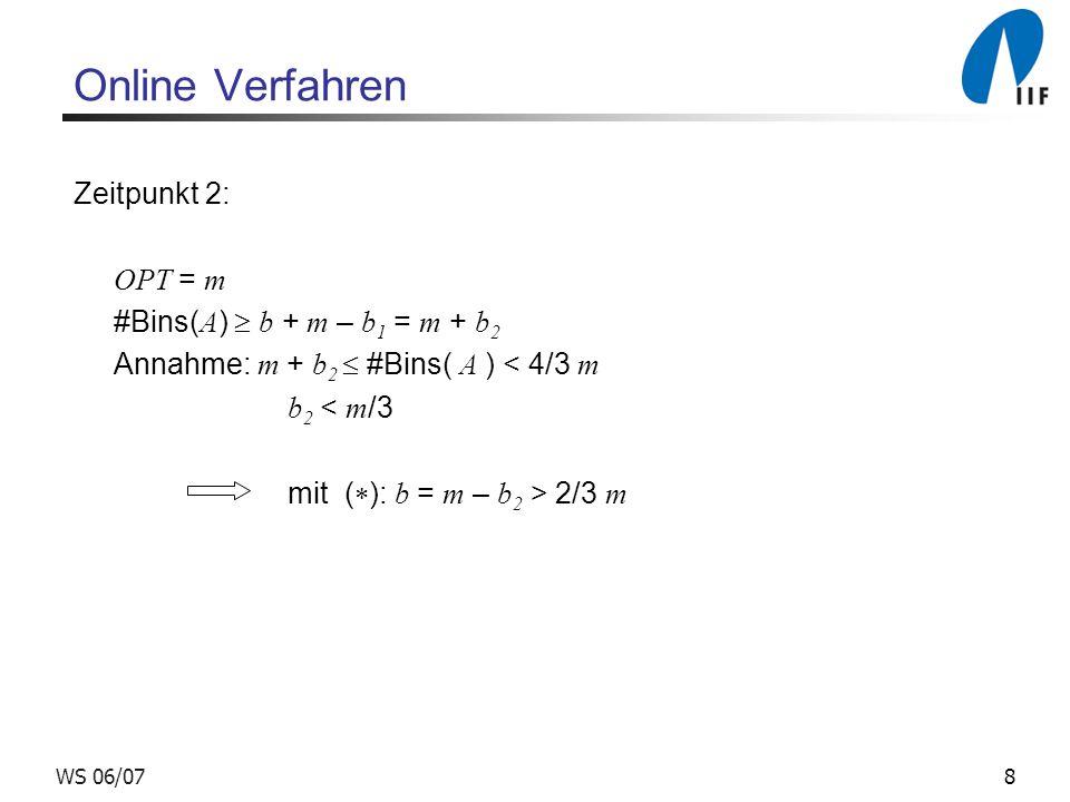 Online Verfahren Zeitpunkt 2: OPT = m #Bins(A)  b + m – b1 = m + b2