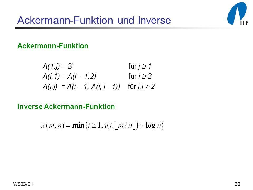 Ackermann-Funktion und Inverse
