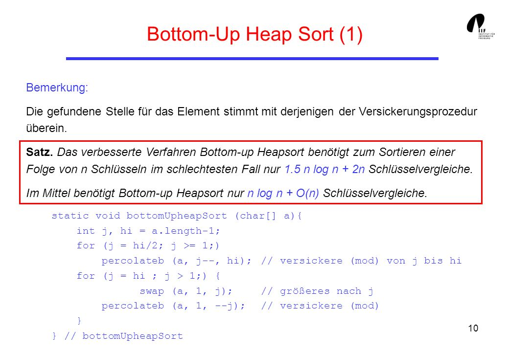 Bottom-Up Heap Sort (1) Bemerkung:
