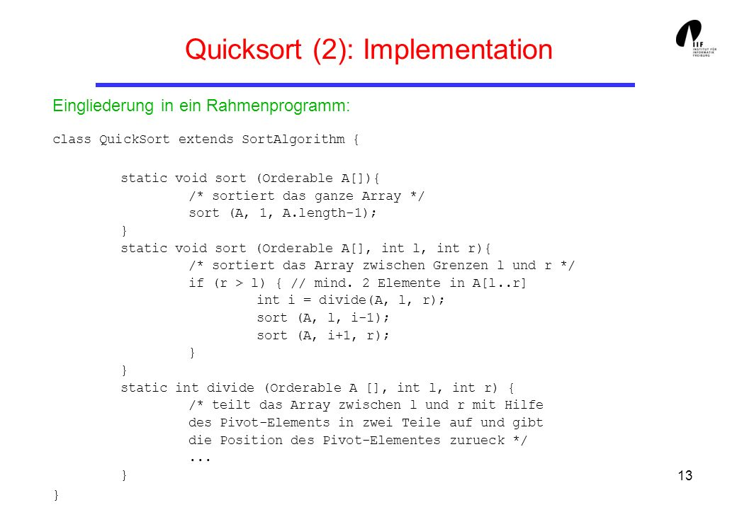 Quicksort (2): Implementation
