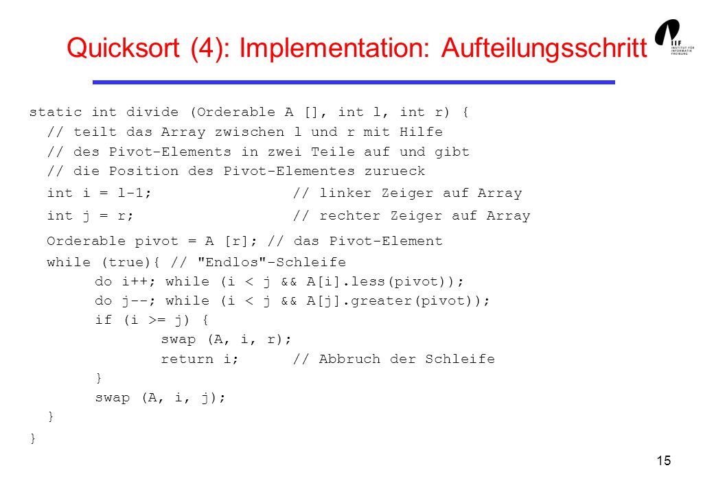 Quicksort (4): Implementation: Aufteilungsschritt