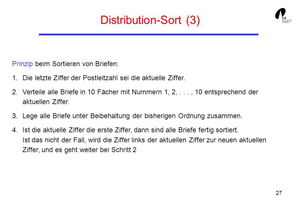 Distribution-Sort (3) Prinzip beim Sortieren von Briefen: